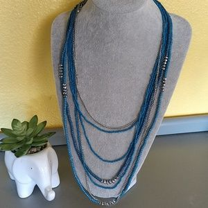 Gorgeous Blue and Silver Beaded Necklace